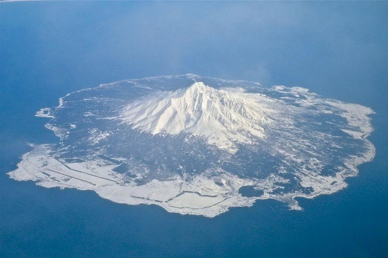 上空から見た利尻島
