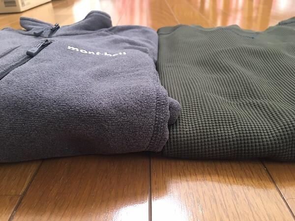 シャミースジャケットとポリエステルの長袖Tシャツの比較