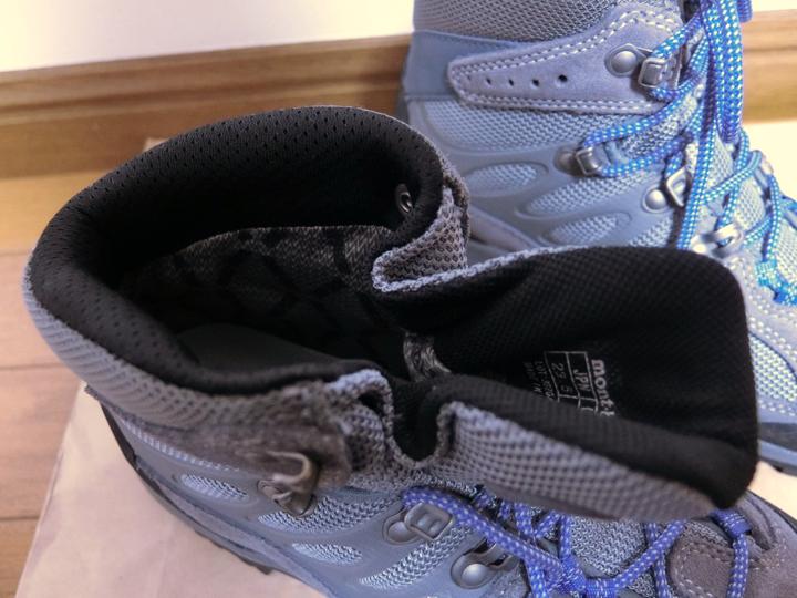 モンベルの初心者向けレディース登山靴の足首部分